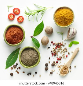 Various herb and spices, top view