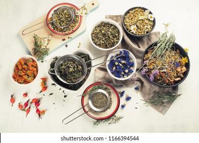 Various herbal tea. Top view. Ещтув