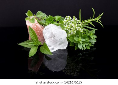 Various herbs with salt crystals from the Himalayas