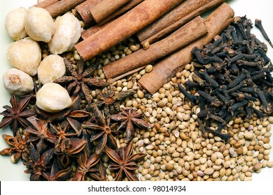 Various herbs and spices used in spa treatment.