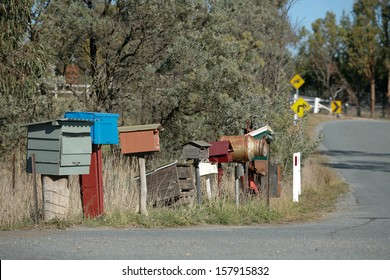 Various homemade and unusual Rural Letterboxes on the side of a country road