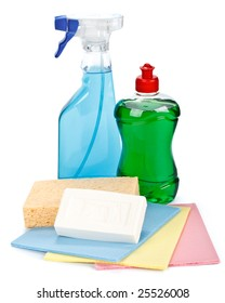 Various household washing-up liquids on a white background