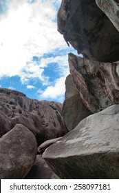 Various Huge Rocks with Cloudy Sky Above, Located at the Baths in Virgin Gorda Island in Caribbean