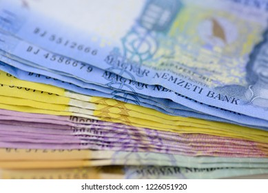 Various Hungarian banknotes stacked on each other, 1-5-10 and 20 thousand forints. Europe Hungary.