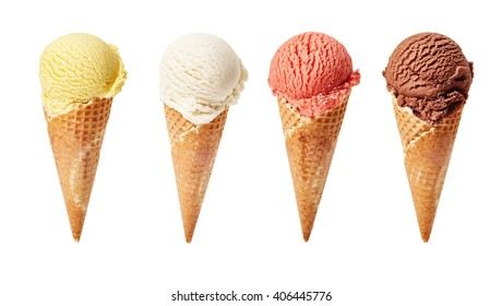 Various ice-cream scoops on white background with assorted balls of vanilla, chocolate, strawberry and butterscotch icecream in waffles.