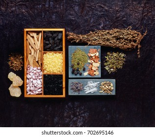 various incense resins and herbs