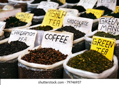 Various of Indian spices on the Anjuna flea market in India, Goa. Masala tea, coffee, cardamom tea, green tea, white tea, chocolate tea etc