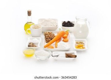 various ingredients isolated on white background