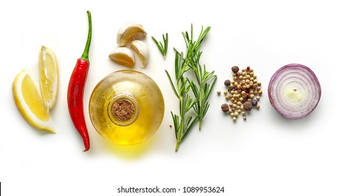 various ingredients for making marinade isolated on white background, top view