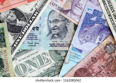 various international currency banknote backgound.