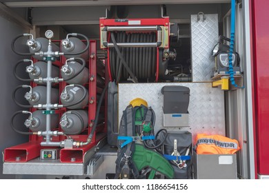 Various items of equipment such as breathing apparatus and extinguishing system on a fire truck