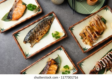 various japanese grilled teriyaki set with background