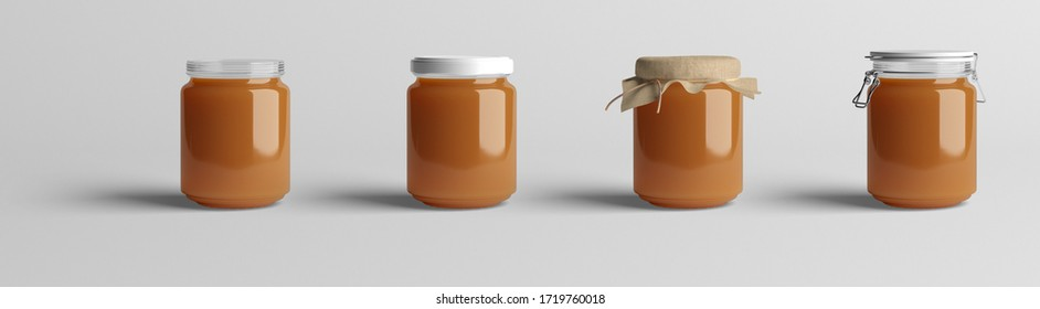 Various jars of peach jam on white background