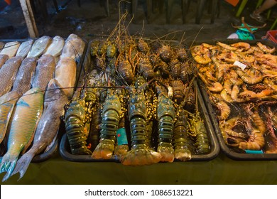 Various kind of fresh seafood in restaurant in Kinabalu