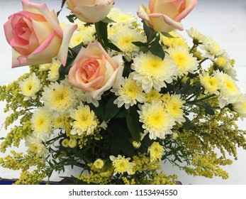 Beautiful flower bouquet yellow roses small stock photo edit now various kinds of bright yellow flowers in the vase mightylinksfo