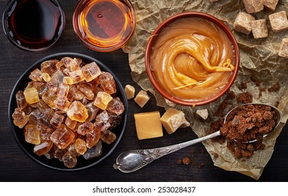 Various kinds of caramelized sugar, top view