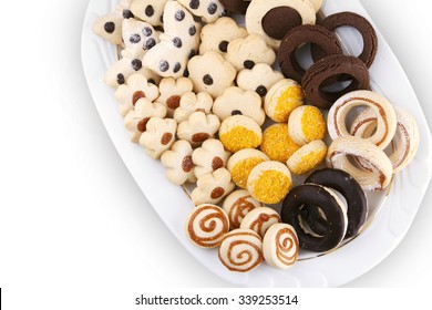 Various kinds of cookies and on a plate