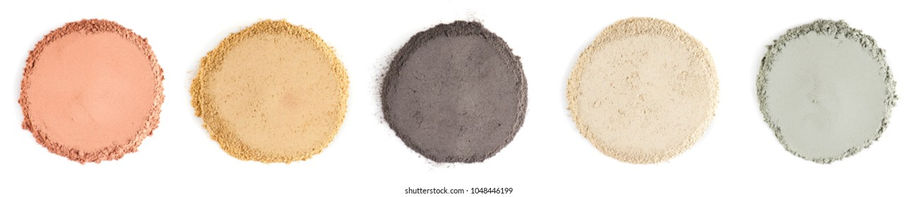 Various kinds of cosmetic clay on the white background