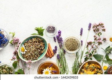 Various kinds of herbal tea. Natural herbs medicine. Top view with copy space