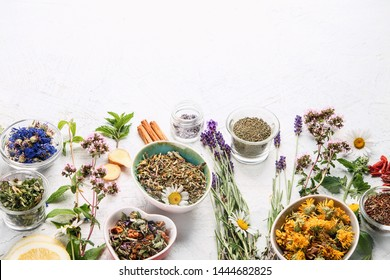 Various kinds of herbal tea. Natural herbs medicine. Image with copy space