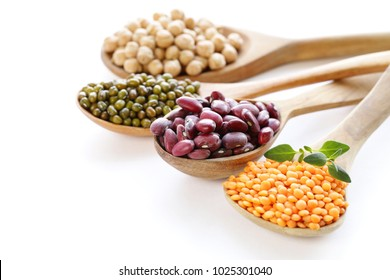 various kinds of legumes - beans, lentils, chickpeas, mung beans