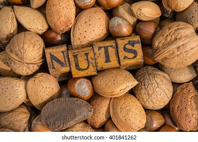 various kinds of nuts background