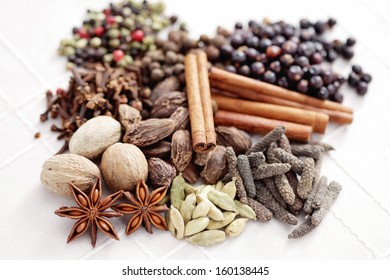 various kinds of spices in bowls - herbs and spices