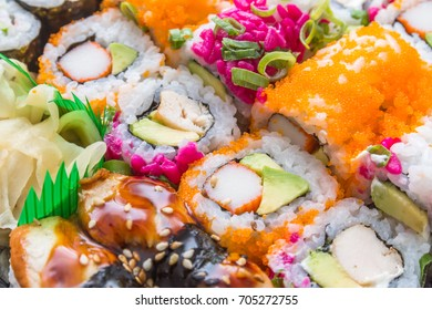 Various kinds of Sushi: delicious Maki and Nigiri sushi