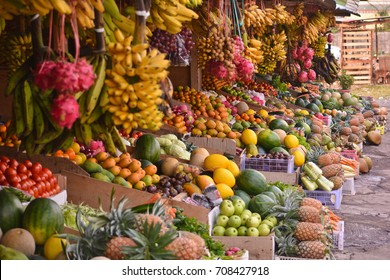 various kinds of vegetables and fruits in traditional markets, indonesia
