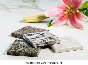 Various of kitchen counter samples made of granite, marble and quartz stone