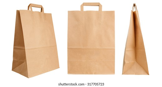 Various kraft paper bags isolated on white background