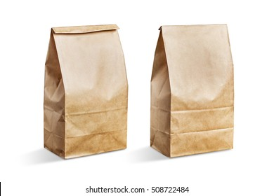 Various kraft paper bags isolated on  background