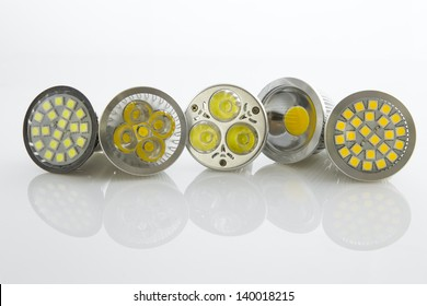 various LED bulbs GU10 with different cooling SMD chips