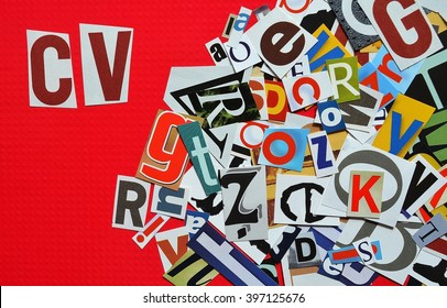 Various letters scattered with the inscription CV