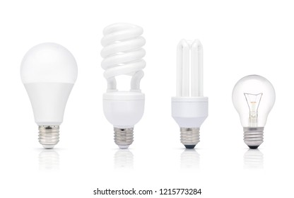 Various of  light bulb, E27 Base, isolated on white background