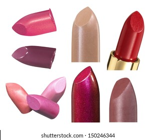 Various lipstick bullets isolated on white