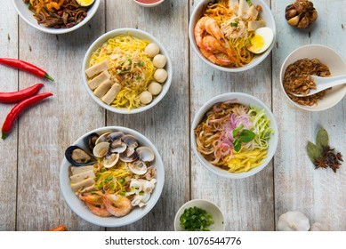 various malaysian noodles top up view