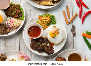 various malaysian rice and dishes