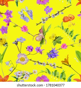 The various many-colored uncultivated flowers. Seamless pattern on yellow background.
