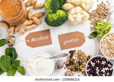 Various meatless protein foods. Vegan protein sources. Healthy vegan food background. Copy space