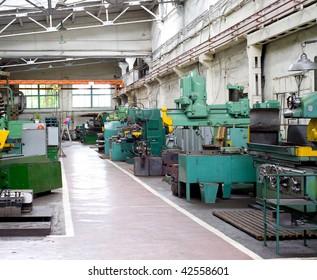 various metal working machines in works shop