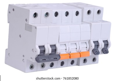 Various miniature circuit breakers on white background.