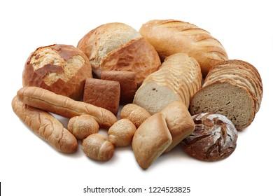 Various mixed baking bakery isolated on white background
