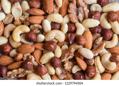 Various mixed nuts background