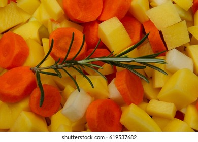 various, mixed raw and unprocessed vegetables with herbs
