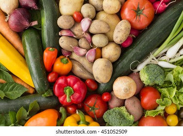Various mixed vegetables arranged in a colorful group as a natural still life for organic healthy and vegetarian food as top view background image for summer, autumn and thanksgiving