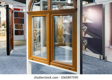 Various models of windows in the exhibition hall of the store. Building