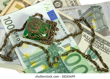 Various money and decorative purse with a chain