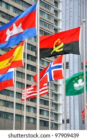 Various national flag with modern building background