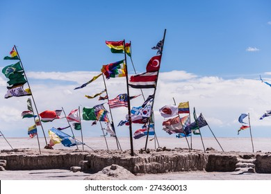 Various nations its flags in the uyuni salt flat in bolivia
